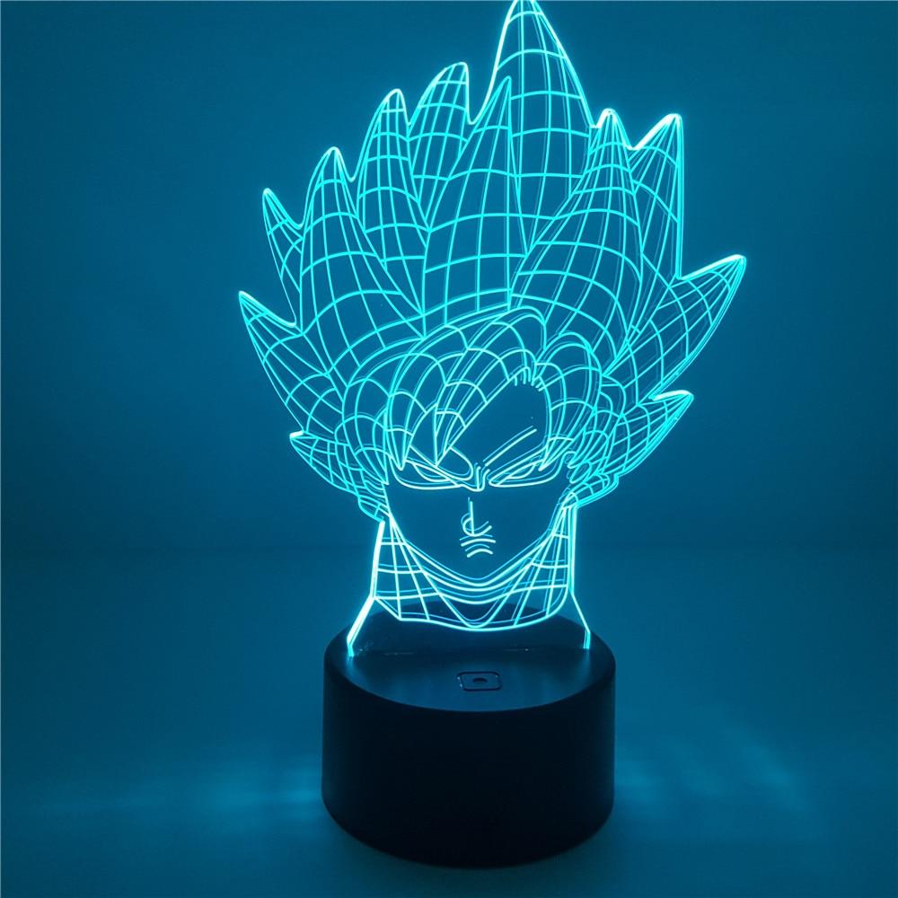 Goku Head Table 3D Lamp